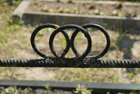 part of a black decorative metal fence made of iron bars with rings on the street