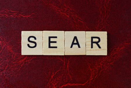 text the word sear from gray wooden small letters with black font on an red table