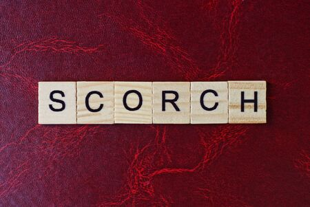 text the word scorch from gray wooden small letters with black font on an red table