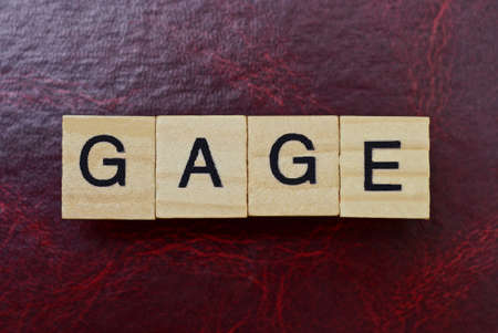 text the word gage from gray wooden small letters with black font on an red table