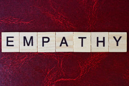 text the word empathy from gray wooden small letters with black font on an red table