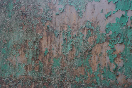 colored texture from old dirty shabby brown green iron wall