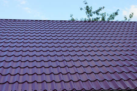 part of the roof of a building with red tiles on a background of blue sky and tree branches