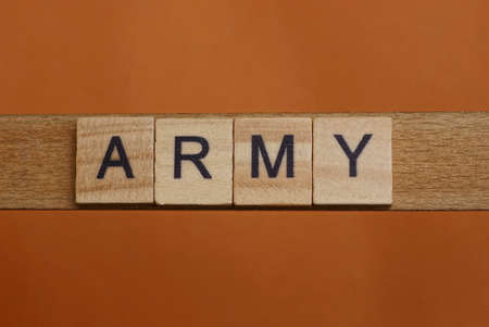 gray word army made of wooden square letters on brown background