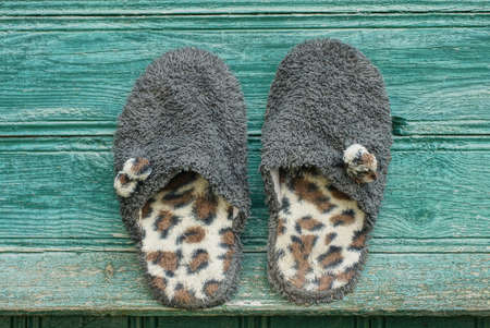 two gray wool slippers with spotted soles stand on a green wooden table 版權商用圖片