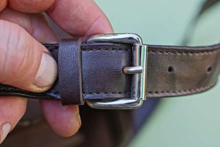 a brown leather harness with a gray metal fastener lies on the fingers on a green background Standard-Bild