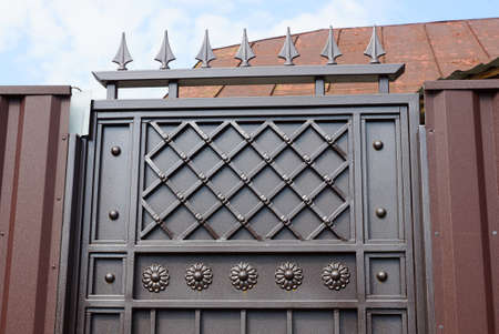 part of a brown iron door with a wrought pattern and sharp bars on the street Standard-Bild
