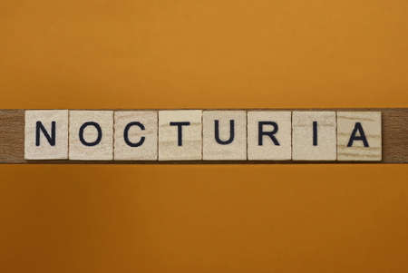 gray word nocturia made of wooden square letters on brown background