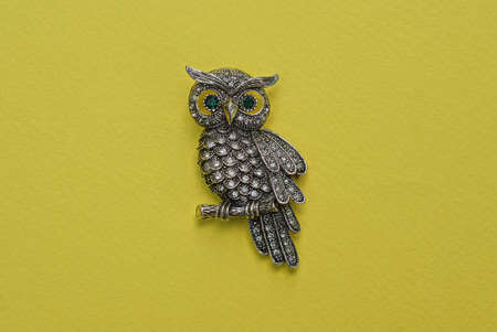 one hairpin badge made of gray metal owl with small glass stones lies on a yellow table Stockfoto
