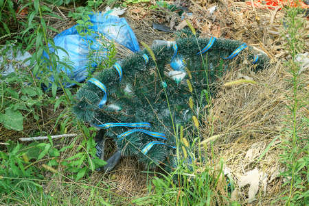 trash from one green plastic funeral wreath lies in the grass and ground in the cemetery