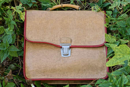 one old brown leather schoolbag lies in green vegetation and gray grass on the street Stock Photo