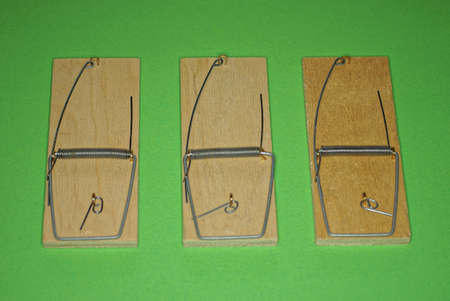 a row of three empty brown wooden mousetraps stand on a green table Stock Photo