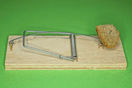 one old brown mouse trap with a piece of bread stands on a green table