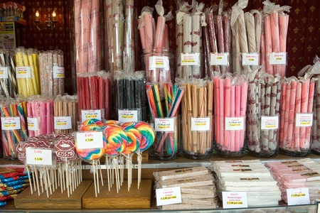 bonbons: A lot of different acid grips and other sweets in a candy store