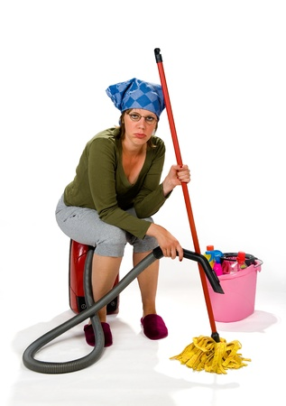 A tired young woman hates the housekeeping Stock Photo