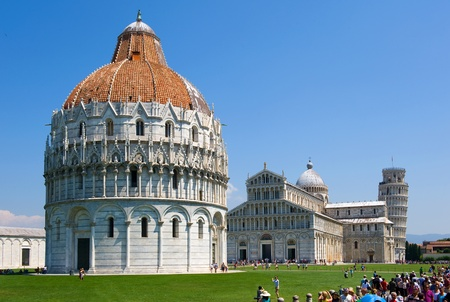 The piazza dei miracoli complex with the leaning tower of Pisa in the background photo