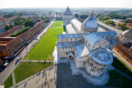 The Piazza Dei Miracoli complex seen from the leaning tower of Pisa