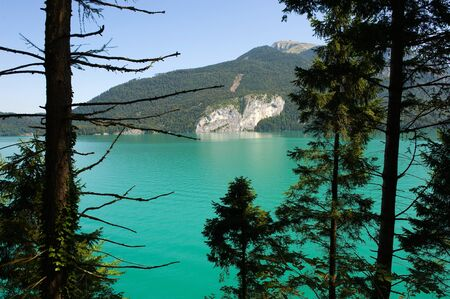 turquise: The clear and turquise water in the Wolfgangsee in Austia Stock Photo