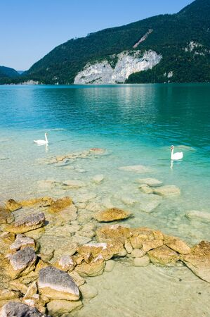 Yellow rocks on the shore of the Wolfgangsee in Austria Stock Photo - 10881284