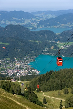 Cableway that goes on to the top of the zwolferhorn mountain near the Wolfgangsee in Austria
