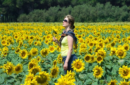 A woman in the middle of a sunflowerfield. Stock Photo