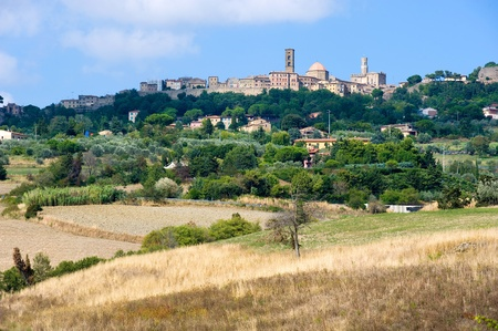 volterra: The city of Volterra in the landscape of Tuscany in Italy.