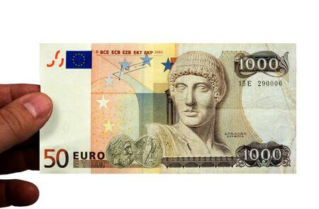 euro bill: A 50 euro bill, and a 1000 drachmen bill combined. Stock Photo