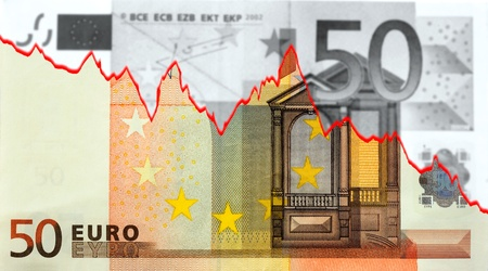 dow: The moneycrisis in Europe marked in a banknote from fifty euro.