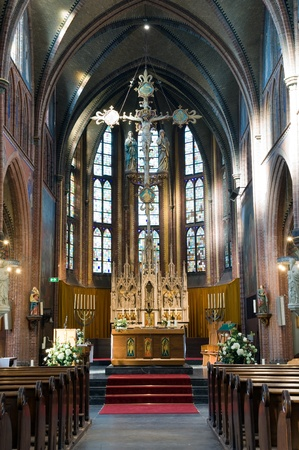 gothic church: The interior of a catholic church in The Netherlands