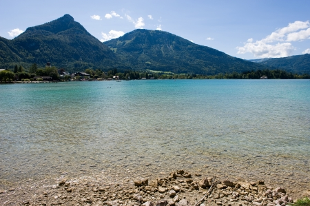 Rocky beach of the wolfgangsee in Austria