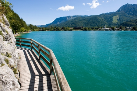 gangway: Gangway over the water of the Wolfgangsee in Austia