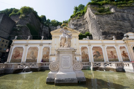 The famous  Horse bath  statue in the centre of Salzburg photo