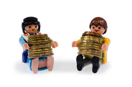 A couple with their money after they are retired