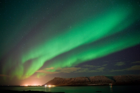 The aurora borealis or the northern lights north of Reykjavik in Iceland photo