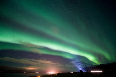 magnetosphere: The aurora borealis or the northern lights north of Reykjavik in Iceland