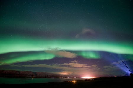 northern nature: The aurora borealis or the northern lights north of Reykjavik in Iceland