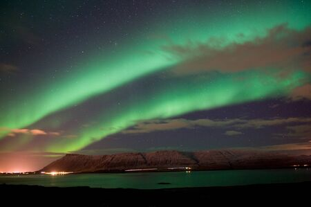 magnetic field: The aurora borealis or the northern lights north of Reykjavik in Iceland