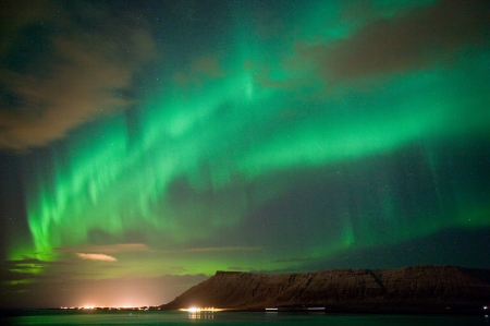 northern light: The aurora borealis or the northern lights north of Reykjavik in Iceland