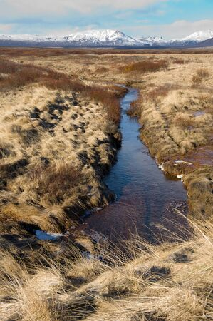 arctic landscape: A small river runs through the landscape in Iceland in the winter