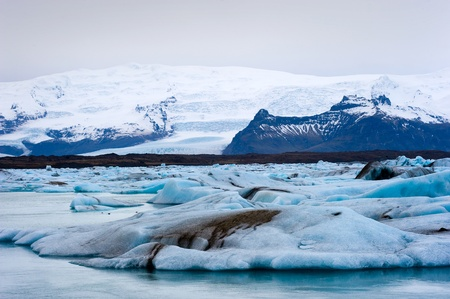 jokulsarlon: Blue icebergs floating in the jokulsarlon lagoon