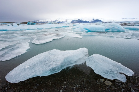 jokulsarlon: Blue icebergs floating in the jokulsarlon lagoon in Iceland in the winter