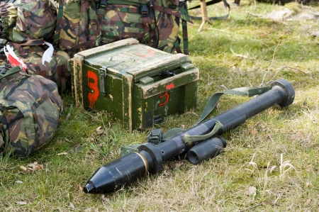 battalion: A bazooka lying on the ground during a training of the Dutch special forces Stock Photo