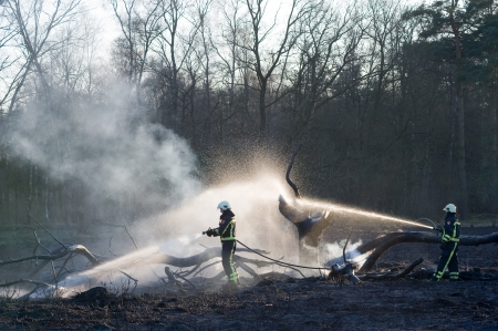 ENSCHEDE, NETHERLANDS - MARCH 28: Two firefighters are trying to extinguish a forest fire. After a period of no rain the forest is extremely dry, and the fire is spreading very easily. March 28, 2012.