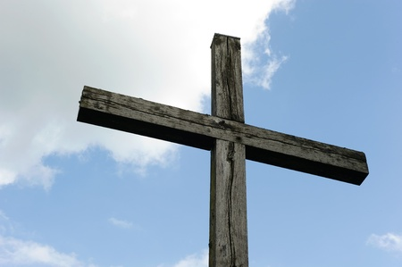 Wooden cross made of wood against the sky Stock Photo - 21504313