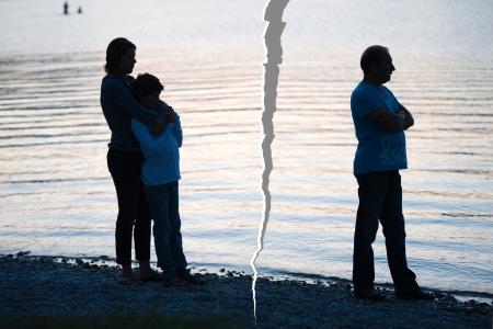 Een familie wordt opgesplitst na een echtscheiding Stockfoto