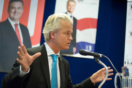 ENSCHEDE, NETHERLANDS - SEP 05  Political leader Geert Wilders of the Dutch center right party PVV during a radio interview, SEPTEMBER 05, 2012 in the Netherlands