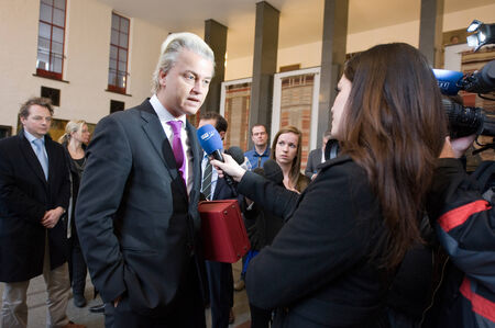 electing: ENSCHEDE, NETHERLANDS - JAN 25  Political leader Geert Wilders of the Dutch center right party PVV is giving an interview for a local TV station, January 25, 2013 in the Netherlands