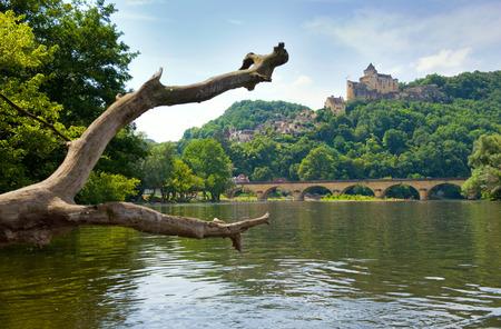serene landscape: The river Dordogne near the bridge of Grolejac