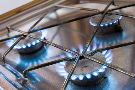 gas stove: Three burners from a gas stove in a caravan