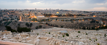 al aqsa: The temple mount and the graves from the mount of olives in front in the twilight in Jerusalem Stock Photo